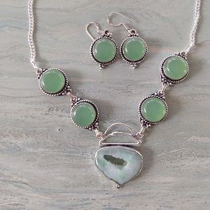 Solar quartz Chalcedony stamped 925 necklace set